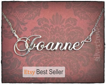 Custom Name Necklace Sterling Silver Personalized Calligraphy Script Wire Writing Cursive Name Necklace With Chain Handmade by SilverTrove