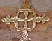 Large Coptic Cross in Gold Bronze