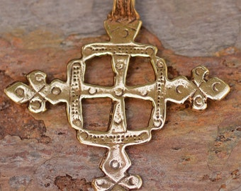 Large Coptic Cross in Gold Bronze
