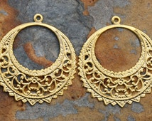 2 Brass Filigree Hoops 40 x 37mm