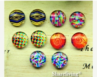 20% OFF SALE - 10pcs 12mm Mixed Handmade Photo Glass Cabochon / Wooden Cabochon  -- MCH011M