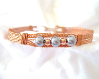 Grey n Copper Pearls Beaded and Copper Wire Wrapped Bracelet