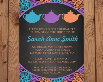 Bridal Shower Tea Party Invitation - Flower Tea Party Invitation - Bridal Shower Invitation - Digital Invitation - Printable Invitation
