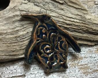 PENGUIN - Lovely Blues and Coppery Brown Glaze Penguin Pendant - Handmade Ceramic Pendant - #2