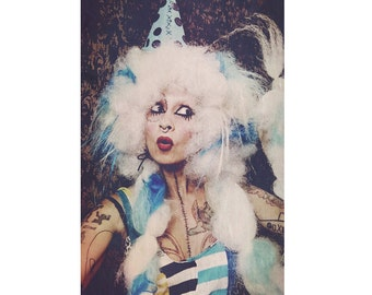 Big Tea Party Wig, Halloween Hair, French Powder Clown Wig, white blue afro, Circus costume, Cosplay, drag queen, Mardis Gras, Rokoko