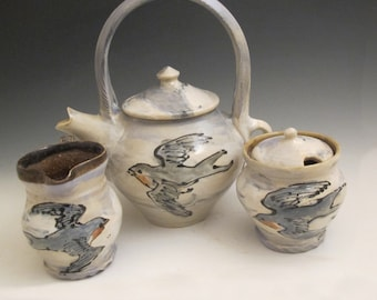 Tea pot creamer and sugar set with barn swallow birds handmade pottery