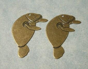 2 Manatee Pendants, Brass Charms, Sea Life Charms, Sea Cow Charms, 31mm x 19mm