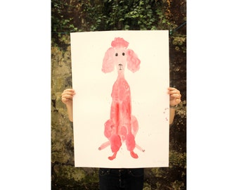Original Faye Moorhouse painting - Giant Pink Poodle 003 - FREE SHIPPING