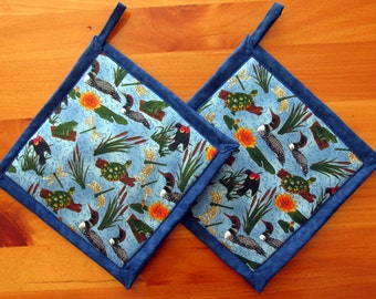 Blue Loons, Turtles, Dragonflies Frogs Potholders, Blue Pot Holders, Fabric Pot Holders, Loon Hot Mats