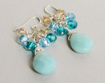 Amazonite Gemstone Briolette Earrings - Amazonite - Aqua Blue - Sterling and Crystal Earrings - Happy Shack Designs