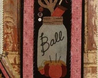 Primitive Folk Art Wool Applique Pattern - Basin Banners Thru the Year - March Ball Jar