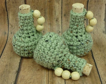 SMALL JUGS Bottle Set of 3 Wood Bead Handles Corks Crochet Tiny House Decor Earthy Country Coastal Beach Theme Miniatures Frosty Green Fleck