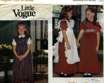 ON SALE Sewing Pattern Vogue 2823 Girl's Holiday Dress and Pinafore Size 5 Uncut Complete