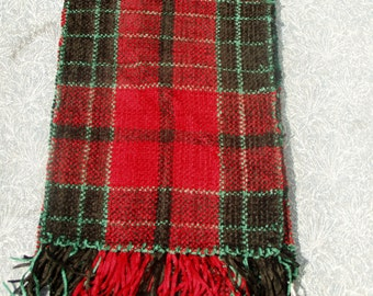 Hand Woven Plaid Rayon Chenille Scarf