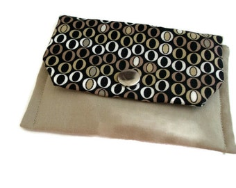 Ovals Small Ladies or Mens Credit/Business Card Wallet , Coin Change Purse , Brown Black Pouch , Geometric , Gift for Him , for Her