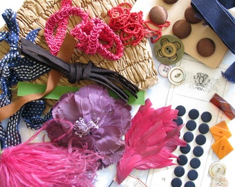 Festooned for Fall...Scrumptious Vintage Buttons, Feathers, Beads, & More