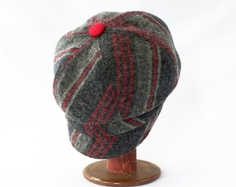 Women's Newsboy Hat in Charcoal and Graphite Gray with Cranberry Red Stripes and Faux Suede Accents: Womens Hats, Winter Cap, Newsboy Cap
