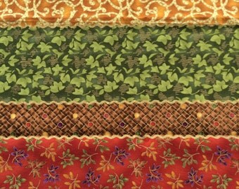 Colorful fall fabric remnant 17 inches x 41 inches - gold accents