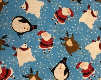 Christmas snowman penguin santa reindeer fabric - 2 1/2 yards