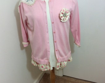 SALE!!! Upcycled, refashioned, womens clothing, pink sweater