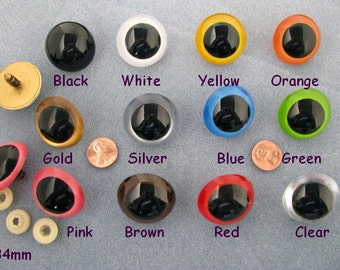 11 Pair 34mm MIX COLORS Plastic Safety Eyes with washers for Puppets, Dolls, Teddy Bears, Sewing, Crochet Projects ( PE-1 )