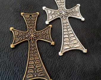 """Cross, Large Metal Cross, 3 1/2"""" Long, Great Gothic Design, Leather Supplies, Jewelry Supply, Stained Glass Supplies, Endless Uses, USA"""