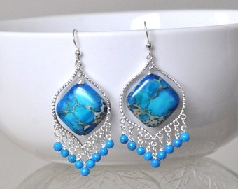Blue Earrings,  Chandelier Earrings,  Sterling silver,  Silver Earrings,  Gemstone Earrings,  Drop Earrings,  Gift For Her