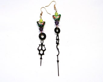 Boho Steampunk Clock Hand Earrings - Neo-Victorian Green and Amethyst Cloisonne