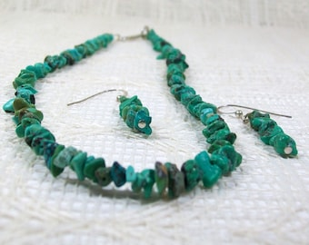 Turquoise Jewelry Set / Turquoise Bead Necklace / Turquoise Dangle Earrings / 18 Inch Necklace / Handmade Jewelry / Beaded Earrings