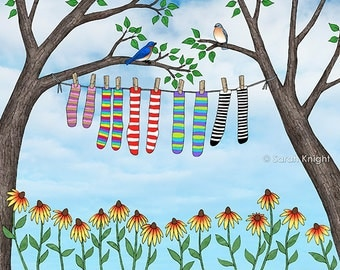 clean socks - art print 8X10 inches - laundry picture eastern bluebirds birds rudbeckia flowers trees leaves aqua blue sky nature washroom