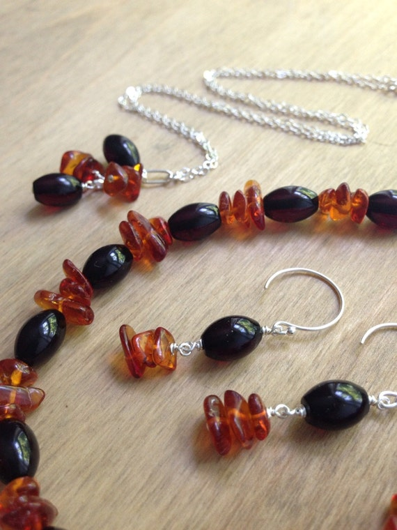 RESERVED - Custom Jewelry Set . Genuine Amber Necklace, Bracelet and Earrings Set