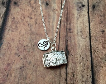 Belt buckle initial necklace - cowgirl jewelry, barrel racer necklace, western jewelry, rodeo queen jewelry, belt buckle pendant jewelry