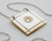 Antique Mother Of Pearl Button Charm Necklace