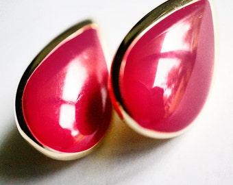 Fuchsia Red Earrings, Teardrop Shape, Enamel Red, Post Style Studs