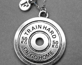 Weight plate necklace, weight plate charm, weight lifting necklace, weight lifting jewelry, personalized, initial necklace, initial charm