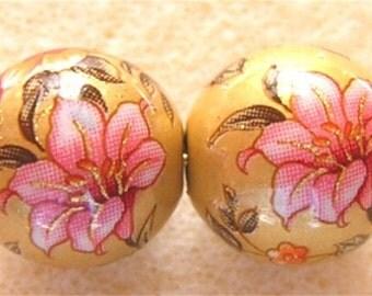 New Design Pair Beautiful Japanese Tensha Beads  LILY BOUQUET Matte GOLD 12mm