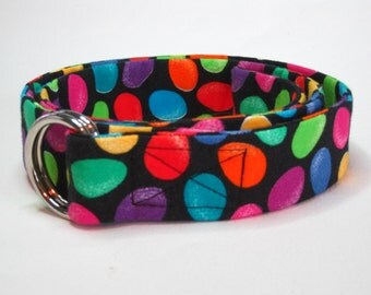 Colorful D-ring Belt SALE Fabric Belt / Belt for toddlers girls boys and women / Back To School - Black Green Blue circles