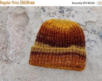 October Sale Men's Hat, Watchcap, Traditional Lumberjack Beanie in Fall Colors - Gold, Brown, Tan. Merino Wool, Hemp. Handblended, handspun,