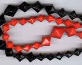 vintage glass beads red and black similar beads graduated japanese glass beads great color TWO strands FIFTY SIX beads 8mm - 14mm