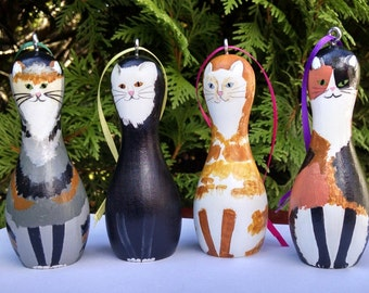 CAT Ornaments Hand Painted