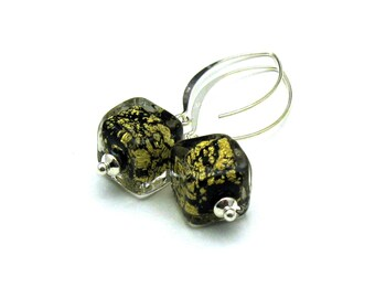 Black Gold Murano Glass Modern Dangle Earrings, Minimalist Drop, by cooljewelrydesign, For Her Under 75