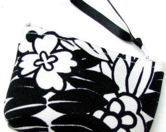 Coin purse, Small coin purse, Small zippered coin purse, Zipper coin purse, Wallet, Black & white floral