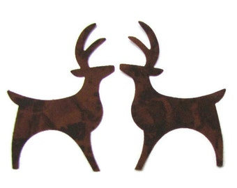 Diecut TINY REINDEER  diy, appliques, Twenty brown reindeer, TEMPORARILY Fused 100% premium cotton fabric, Precision die cut