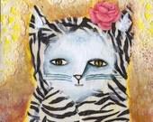 Silly Zebra Kitty Whimsical Original Modern folk art painting white cat pink rose
