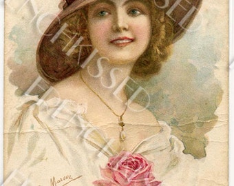 Antique French Hat Fashion Postcard Vintage Shabby Chic Creased and Already Aged Digital Printable