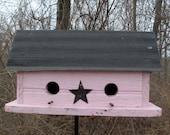 Unique Wooden Birdhouse Pink Black Primitive Old Barnwood Metal Roof Two Compartment,Garden Art, Handmade Birdhouse, Hanging Bird House