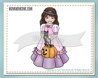 Digital Stamp - Fangtastic - little princess girl with candy corn fangs