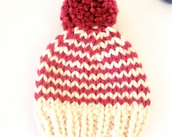 Chunky Knit Baby Hat / Child Chunky Striped Beanie / Knit Baby Hat Pom Pom / Toddler Knit Baby Hat / Knit Striped Child Hat