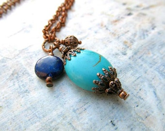 Turquoise necklace Lapis copper necklace Earthy rustic jewelry
