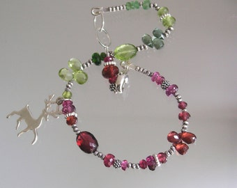 Reindeer Gemstone Bracelet, Holiday Silver Beaded Bracelet, Garnet, Peridot, Green and Red Gemstones, Pink and Lime, Original Design